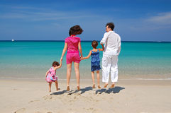 Family beach jump Stock Images