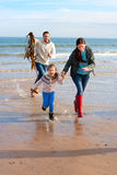 Family on Beach with Seaweed Royalty Free Stock Image