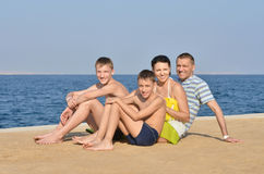 Family at beach in summer Royalty Free Stock Photos