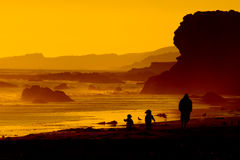 Family on beach at sunset. Silhouetted family walking on rocky beach with golden sunset background Royalty Free Stock Photography