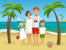 Family on the beach - vector Illustration Royalty Free Stock Images