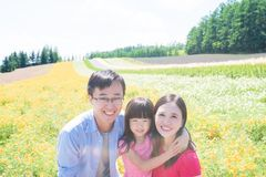 Family with landscape in Furano Royalty Free Stock Photos