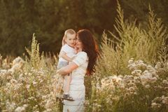Family. Beautiful mother and her cute son stock images