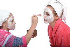 Family beauty treatment in the bathroom. mother Royalty Free Stock Images