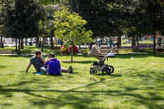 Family in the Bebek park in Istanbul, Turkey Stock Photo