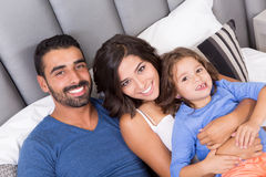 Family in bed Royalty Free Stock Photos