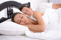 Family in bed Stock Image