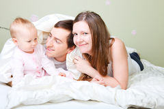 Family in bedroom Royalty Free Stock Photography