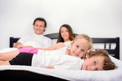 Family in the bedroom Royalty Free Stock Photo