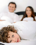 Family in the bedroom Royalty Free Stock Photos