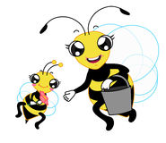 The family of bee cartoon, mom and baby carrying a tank to seeking honey Stock Images