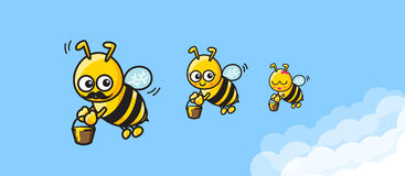 The family of bee cartoon mom dad and baby carrying the honey an. D fly on blue sky background vector illustration eps10 Stock Image