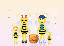 Family of bees with honey Stock Images