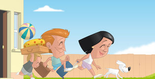 Family beginning the summer vacations. Illustration of Family beginning the summer vacations Royalty Free Stock Photo