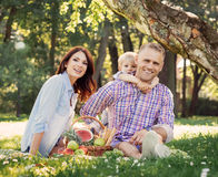Family being together on a picnic Royalty Free Stock Photo