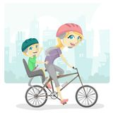 Family Bicycle. Mother and son riding a bicycle stock illustration
