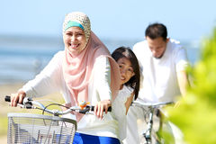 Family bicycle outdoor Stock Image
