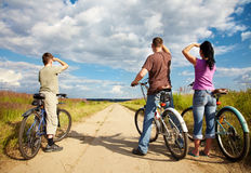 Family on bicycle ride