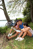 Family on a bicycle ride Stock Image
