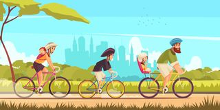 Family Bicycle Ride Cartoon Illustration royalty free stock images