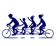 Family Bicycle Ride Silhouette Stock Image