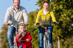 Family on bicycle tour in park Royalty Free Stock Images