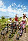 Family of bicyclists Royalty Free Stock Image