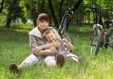 Family on bike Royalty Free Stock Photo