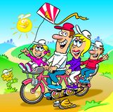 Family bike outing cartoon. Cartoon caricature of family on bike ride in countryside Stock Images