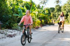 Family on bike ride Royalty Free Stock Photo