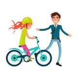 Family Bike Ride with Dad and Daughter on Bicycle Royalty Free Stock Photography