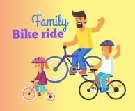 Family Bike Ride with Dad, Little Daughter and Son Royalty Free Stock Photography