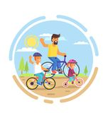 Family Bike Ride with Dad, Little Daughter and Son Stock Images