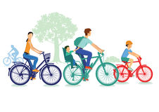 Family bike ride. Illustration of a family taking a bike ride together with a white background Stock Images