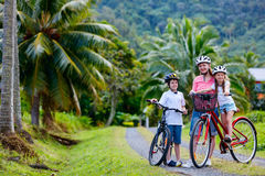 Family on bike ride Royalty Free Stock Images