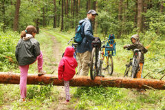 The family bike trip. Bike trip - crossing the fallen tree stock photography