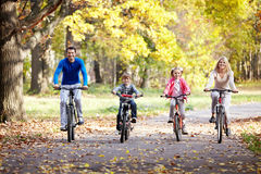 Family on bikes Royalty Free Stock Photo