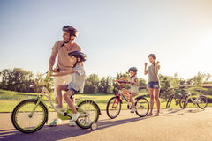 Family on bikes Stock Photography