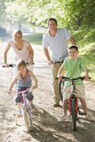 Family on bikes on path smiling Royalty Free Stock Images