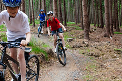 Family biking. Mother and kids biking in forest Stock Photos