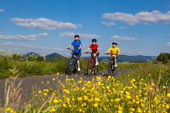 Family biking. Active people - mother and kids biking Royalty Free Stock Image
