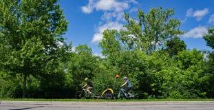 Family Biking on a Greenway Royalty Free Stock Photo