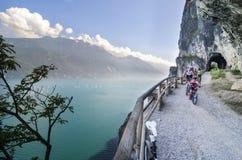 Family biking by Lake Garda