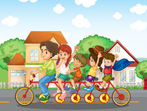 A family biking together royalty free illustration