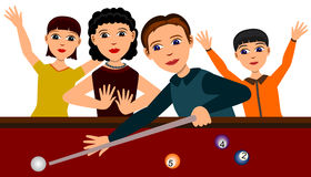 Family billiards. A family having fun together while playing billiards Royalty Free Stock Photography