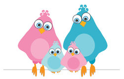 Family-birds. Vector illustration of a cute twitter bird family Royalty Free Stock Images