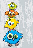Family of birds. Funny cartoon family of birds standing on each other Royalty Free Stock Photography