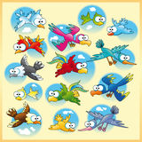 Family of birds with background. Vector and cartoon characters royalty free illustration