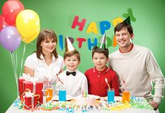 Family during birthday Stock Photography