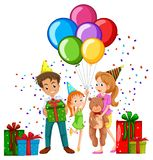 Family at birthday party with balloons and presents. Illustration Stock Photo